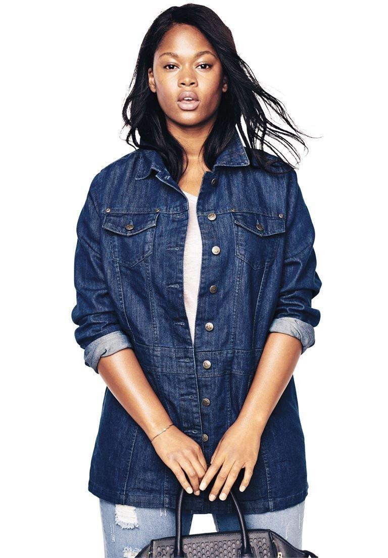 14c831da87d Galleon - Roamans Women s Plus Size Long Jean Jacket - Medium Stonewash