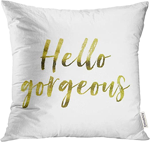 Emvency Throw Pillow Cover Stylish Fun Smile In Gold Decorative Decorative Pillow Case Modern Home Decor Rectangle Queen Size 20x30 Inch Cushion Pillowcase