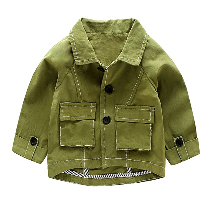Yiiquan Chaqueta para Bebé Niño Chaquetas de Manga Larga Solapa Outerwear Tops Casual Ropa (Verde