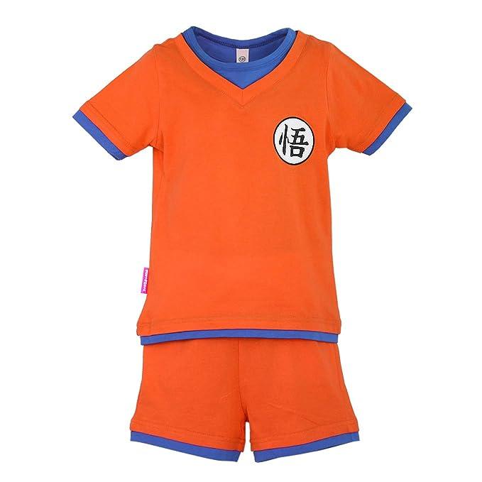 Niños Disfraz Camiseta T-Shirt Shorts para Bola del Dragón Son Goku Traje de Entrenamiento Ropa Sudadera (140 (EU128))