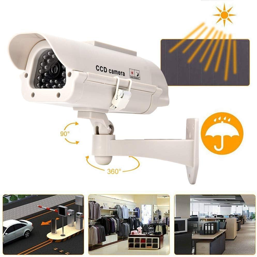 con Soporte Ajustable para Interiores y Exteriores C/ámara Falsa con luz LED Plateada Solar Monitor Falso Altamente Realista