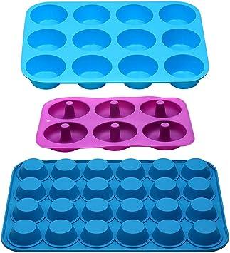 Moldes de silicona para magdalenas, antiadherentes, 12 tazas y 24 ...
