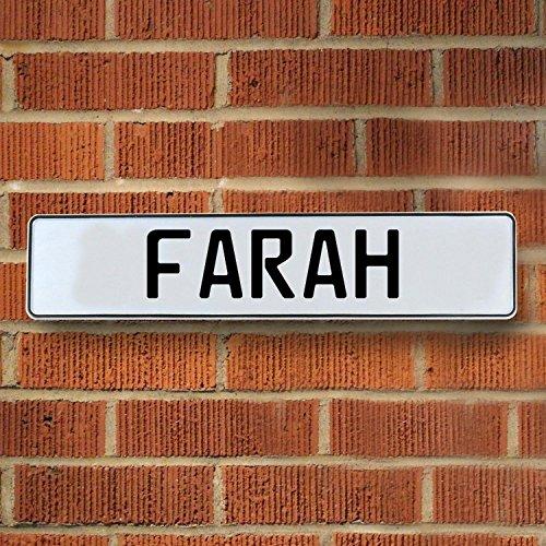 Vintage parts USA VPAY155FB Farah White Stamped Aluminum Street Sign Mancave Wall - Vintage Farah Usa