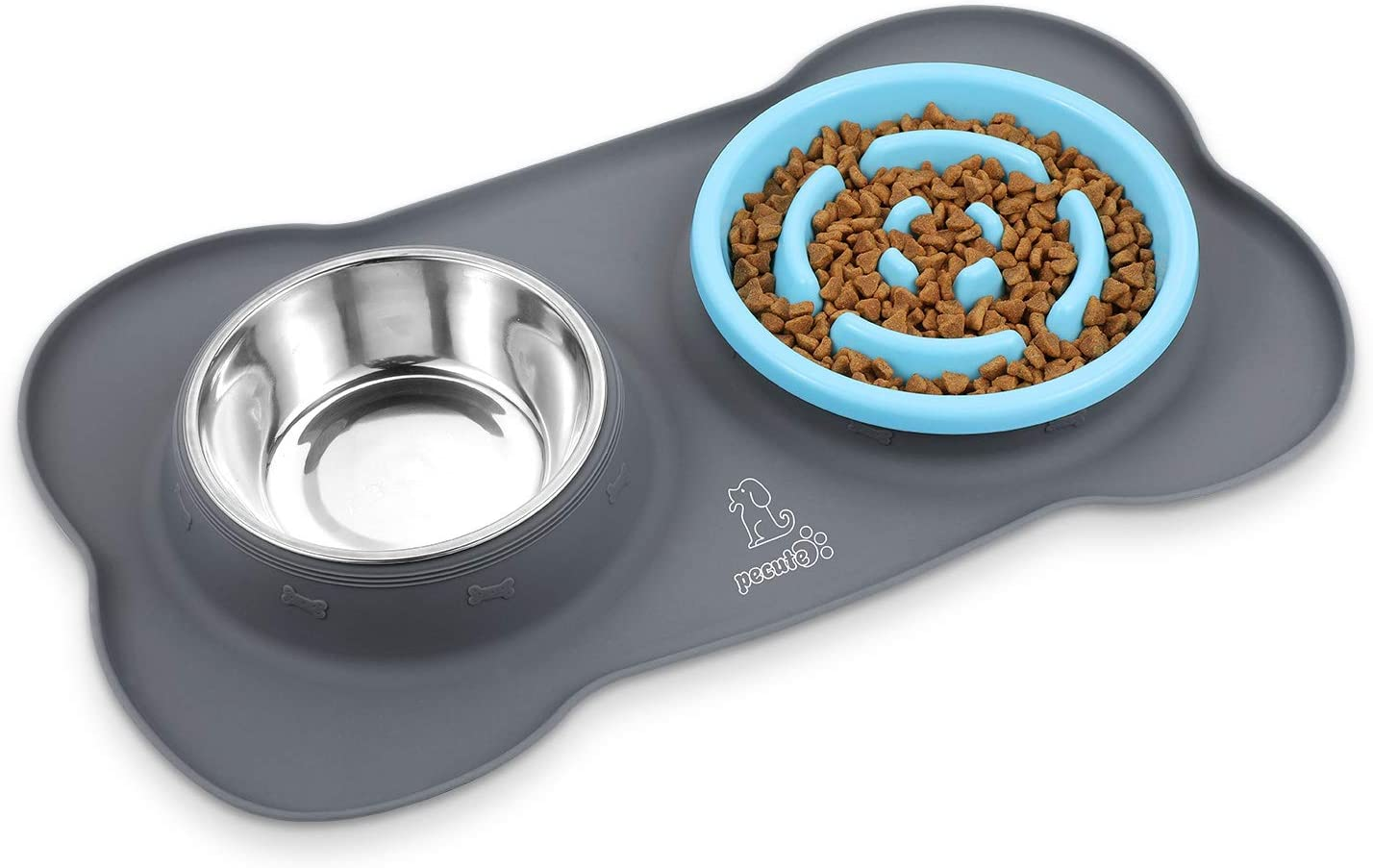 Pecute Dog Bowl Slow Feeder Bloat Stop Pet Bowl Fun Feeder Eco-Friendly Non-Toxic No Choking Healthy Design Bowl with No-Spill Non-Skid Silicone Mat Stainless Steel Water Bowl for Dogs Cats and Pets