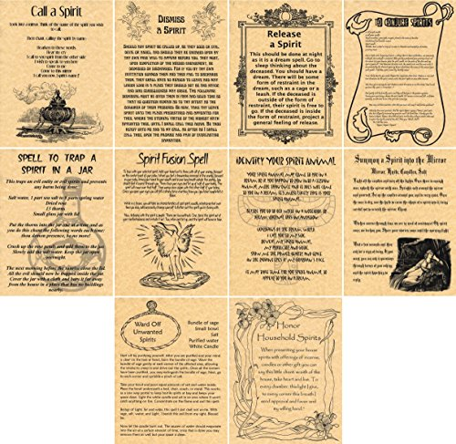 book-of-shadows-spell-pages-set-of-10-spirit-spells-wicca-witchcraft-spirit-working-real-spells-gold