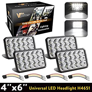 Vplus (Pack of 4) 4x6 Inch LED Peterbilt Headlights Sealed Beam Kenworth Led Headlights Bulbs HID Xenon Replacement H4651 4651 4652 H4652 H4666 H6545 H4656 Led With Wire Wiring Harness Sockets