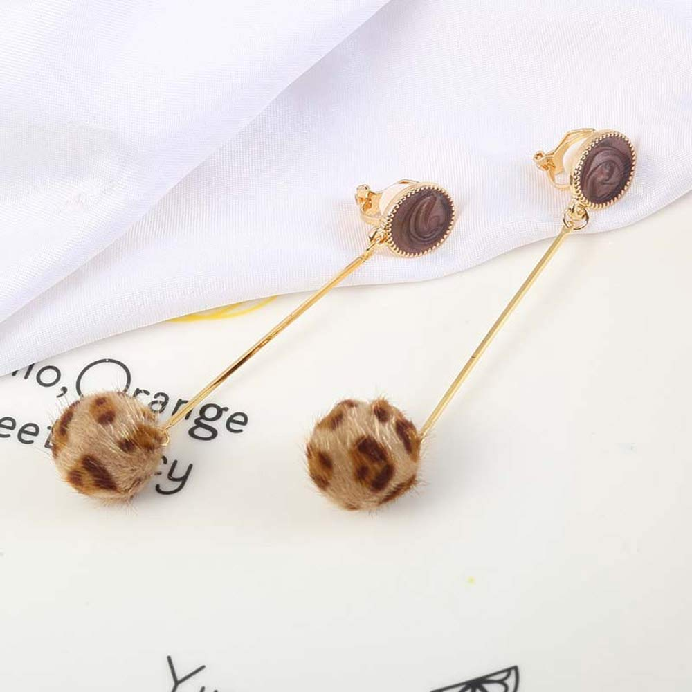 Leopard Hairball Clip on Earrings Long Dangle Drop non Pierced Daughter Girls Gold Plated Bohemian Boho
