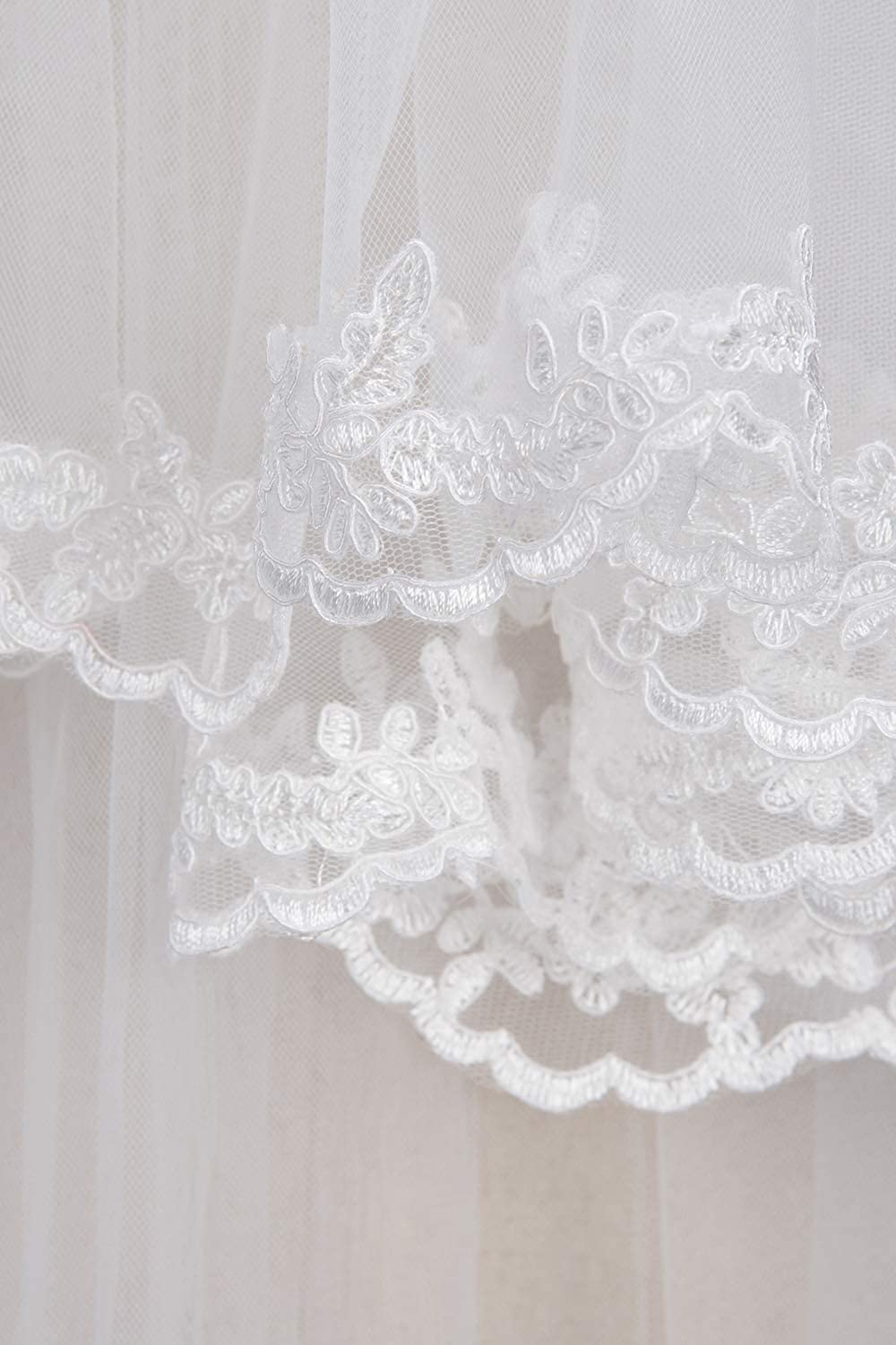 White Ivory Tulle Sheer Wedding Bridal Veils Cathedral for Bride