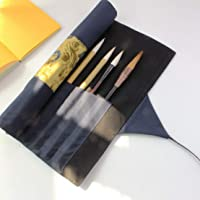 Writing Brushes Roll Up Bag Chinese Brush Pen Organizer Canvas Pouch Blue