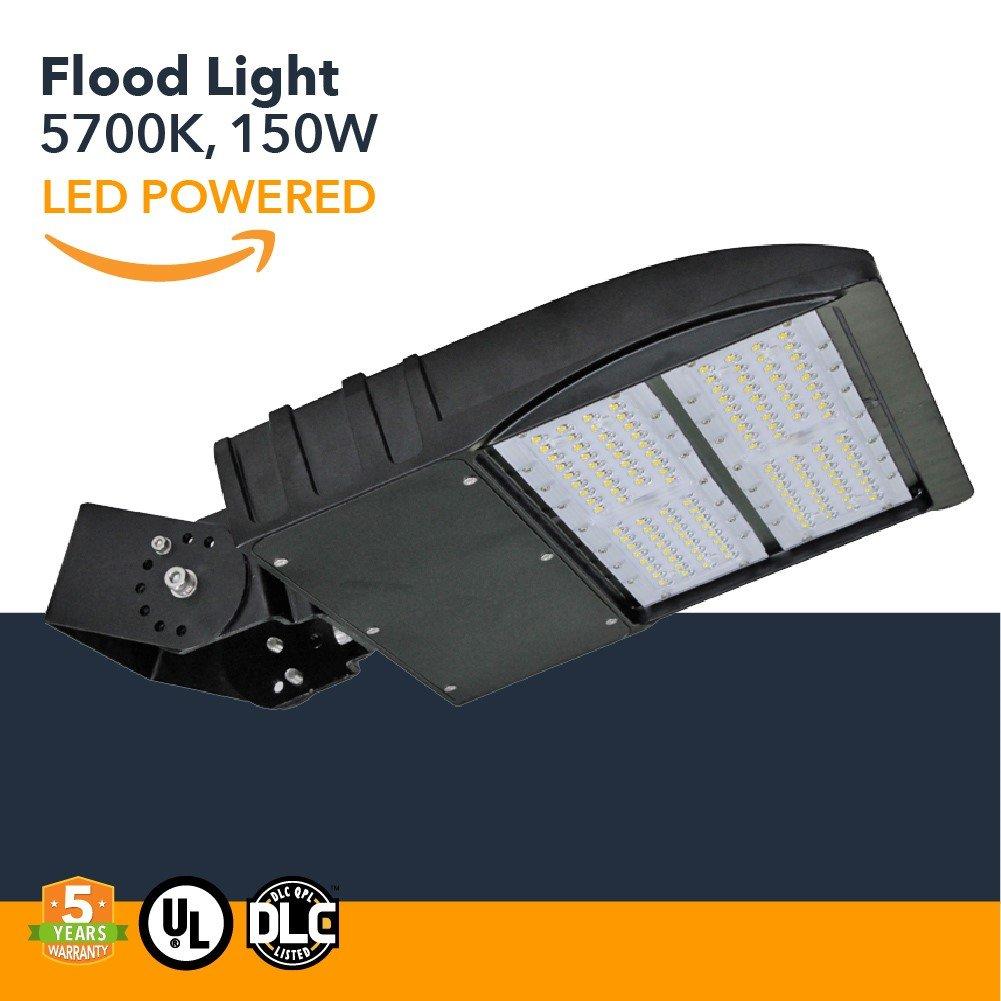 150W LED Flood Lights - 19500 Lumens, High Powered Outdoor LED Yoke Mount Flood Security Lights - Industrial or Commercial Security Flood Lighting - 5700K - (UL+DLC)