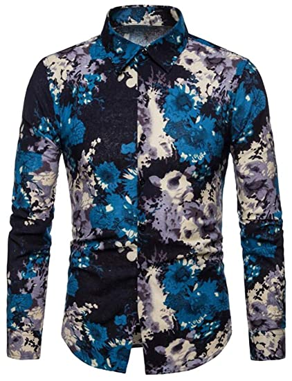 Fubotevic Men Button Down Slim Fit Casual 3D Print Long Sleeve Floral Print Shirt