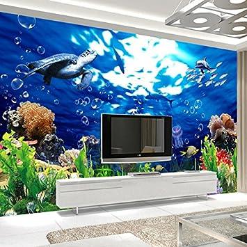 Wongxl Le Monde Aquatique Sous-Marin Dauphin Papier Peint 3D Murales ...