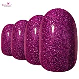 Bling Art Oval False Nails Fake Acrylic Gel Magenta Full Cover 24 Medium Tips