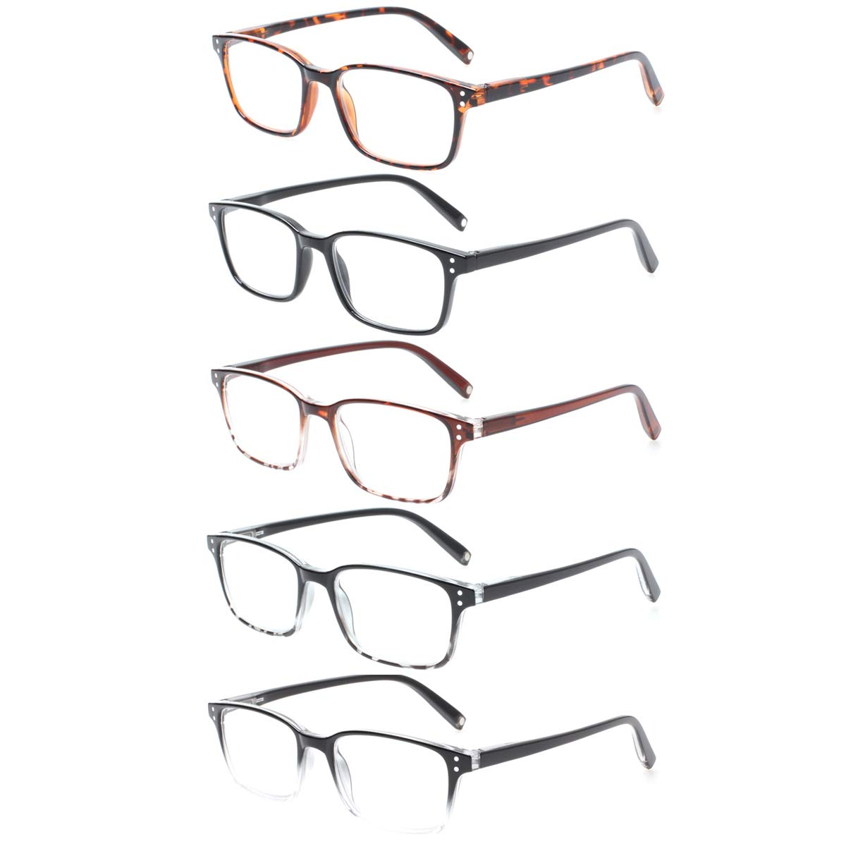 d2fd66d34b Amazon.com  Reading Glasses Magnet 5 Packs Retro Man and Woman Spring Hinge  Readers (5 Color Mix