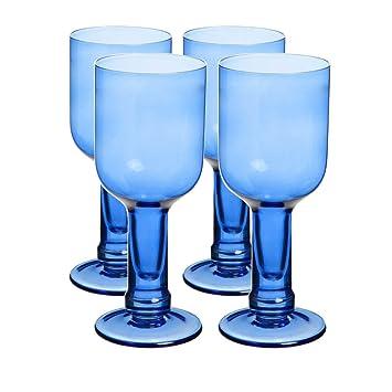 Azul reciclado botella de cristal copas de vino juego de 4