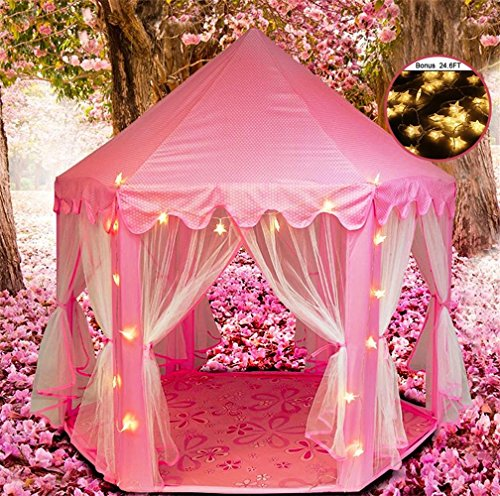 [UPGRATED]Princess Castle Play House, Play Tent for Girls Fairy Princess Castle Tent, Large Portable Pop Up Christmas Gift Funny House Tent, Indoor/Outdoor Kids Play Tent, Pink (Halloween Ocean Park 2017)