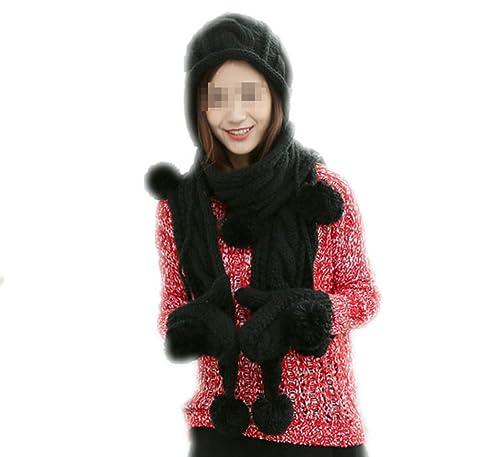 Conjunto De 3 Piezas Para Mujer Sombrero Bufanda Y Guante Infinito,Black-OneSize