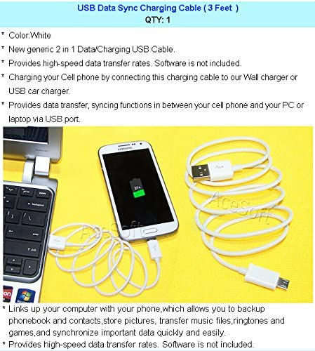 AceSoft 2X 1350mAh Extended slim Grade A Battery Universal Desktop Charger USB Data Sync Charging Cable Pen for AT/&T LG A380 Phone