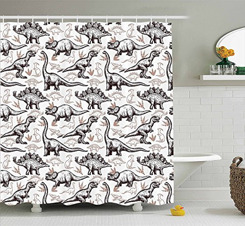 [Home Decor Shower Curtain Set Magnificent Reptiles with Footprints Doodle Style Art Ancient Animals Abstract Pattern Bathroom Accessories Brown] (Magnificent Movie Costume)