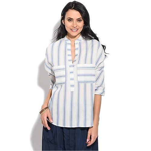 Orfeo Camisa Remi Crudo/Azul Mujer Colección Primavera/Verano