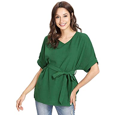 ba6c154e Gaddrt Tops MPlesse Check Gaddrt Size Chart Before You Buy Green Womens  Ladies Casual V Neckline Self Tie Short Sleeve Blouse Top Tshirt:  Amazon.in: ...