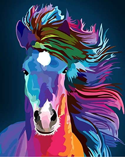 iCoostor Paint by Numbers DIY Acrylic Painting Kit for Kids /& Adults Beginner 16 x 20 Abstract Horse Pattern