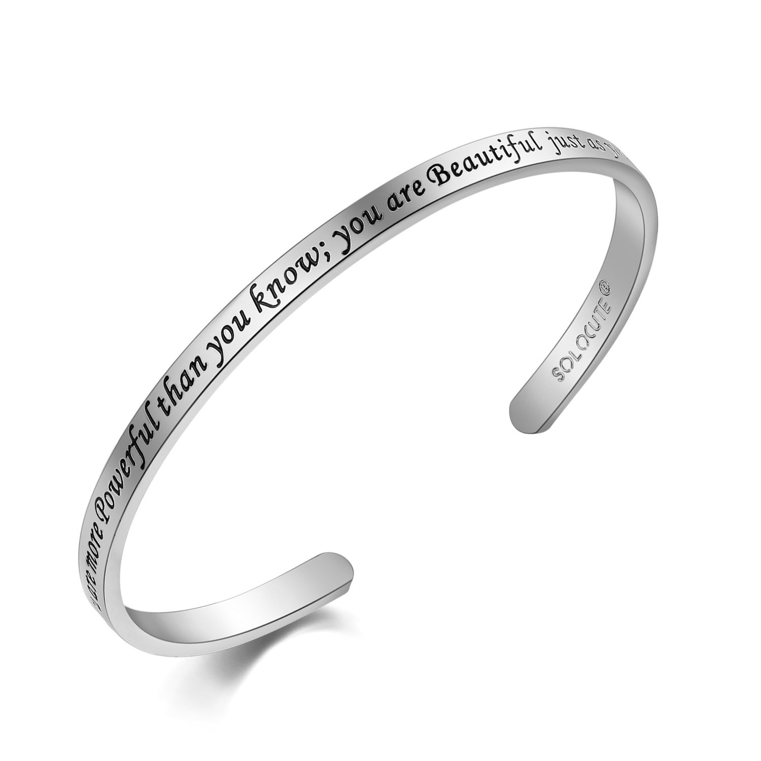 Solocute Elegant Memories Gold Plated Bangle Bracelet Engraved You are More Powerful Than You Know; You are Beautiful just as You are Inspirational Cuff Jewelry for Christmas Day SC036RG