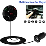Bluetooth FM Transmitter,JZxin Car Kit Hands-Free Wireless Calling Magnetic Mount Music Adapter Receiver with USB Charger