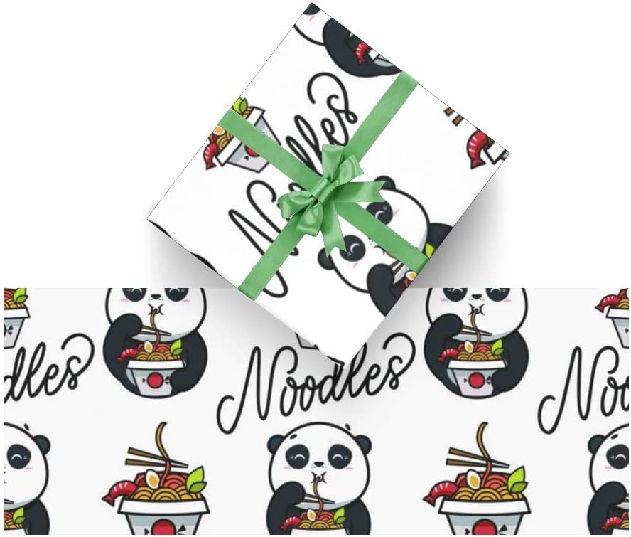 Asian Food Cute Panda Gift Wrapping Paper Bundle 3 Rolls High Gloss & Metallic Prints for Birthday, Weddings, Valentines, Graduation, Father's Day Baby Showers, Bridal Showers Papper
