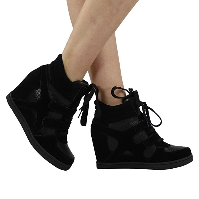 4f7bddcdfdbb Loud Look Womens Ladies Lace Up Velcro Sneakers Trainers High Wedge Heel  Ankle Boots Size 3-8  Amazon.co.uk  Shoes   Bags
