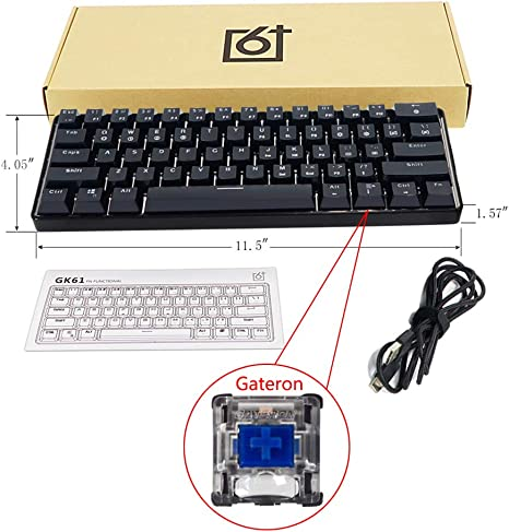 siwetg Teclado mecánico con cable RGB retroiluminado LED, portátil, compacto, resistente al agua, mini teclado para juegos de 61 teclas, interruptores ...