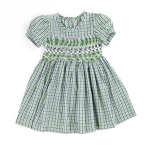 Sissymini - Infant and Toddlers Hand Smocked Dress | Genelle Gard's Garden Plaid in Green -