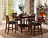 Homelegance Galena 5-Piece Counter Height Dining Set, Cherry Review