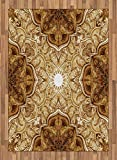 Antique Area Rug by Lunarable, Vintage Style Leaf Pattern Classic Islamic Architectural Elements Folk Artwork, Flat Woven Accent Rug for Living Room Bedroom Dining Room, 5.2 x 7.5 FT, Brown Cream