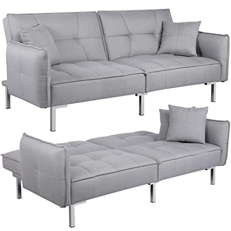 Pleasant Yaheetech Luxury Fabric Sofa Bed 3 Seater Click Clack Recliner Couch Lounge Sofabed For Living Room With Cushions Grey Evergreenethics Interior Chair Design Evergreenethicsorg