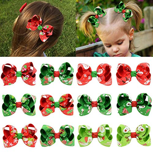 """12pcs Hair Bows for Girls 3"""" Christmas Boutique Bow Alligator Clips Grosgrain Ribbon Hair Accessories Toddlers Kids Teens"""
