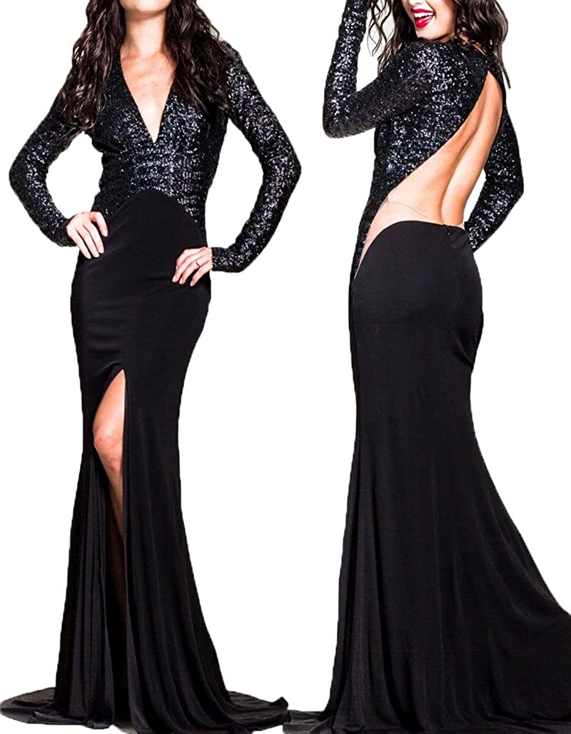 Black Ellenhouse Women's Sequined Long Sleeve Evening Dress Backless Prom Gowns EL092