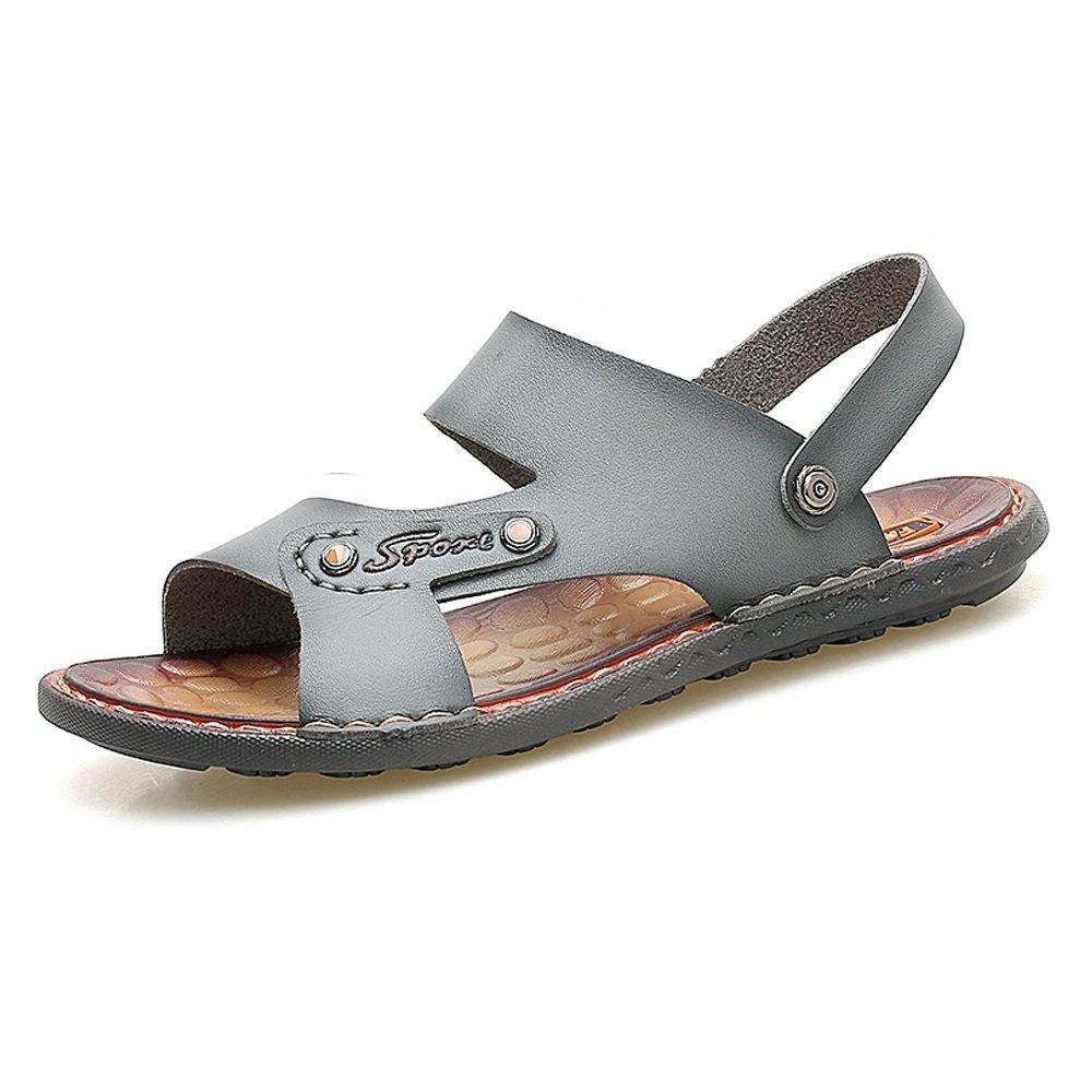 Zapatillas de Playa de Cuero PU de los Hombres Sandalias Casuales Antideslizantes Zapatos Planos Suaves Ajustables sin Respaldo,para los Hombres 40 EU Gray