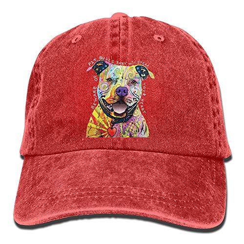 Beware of Pit Bulls Adult Denim Fabric Hat for Boy Woman Unisex,Boys Female's Cap