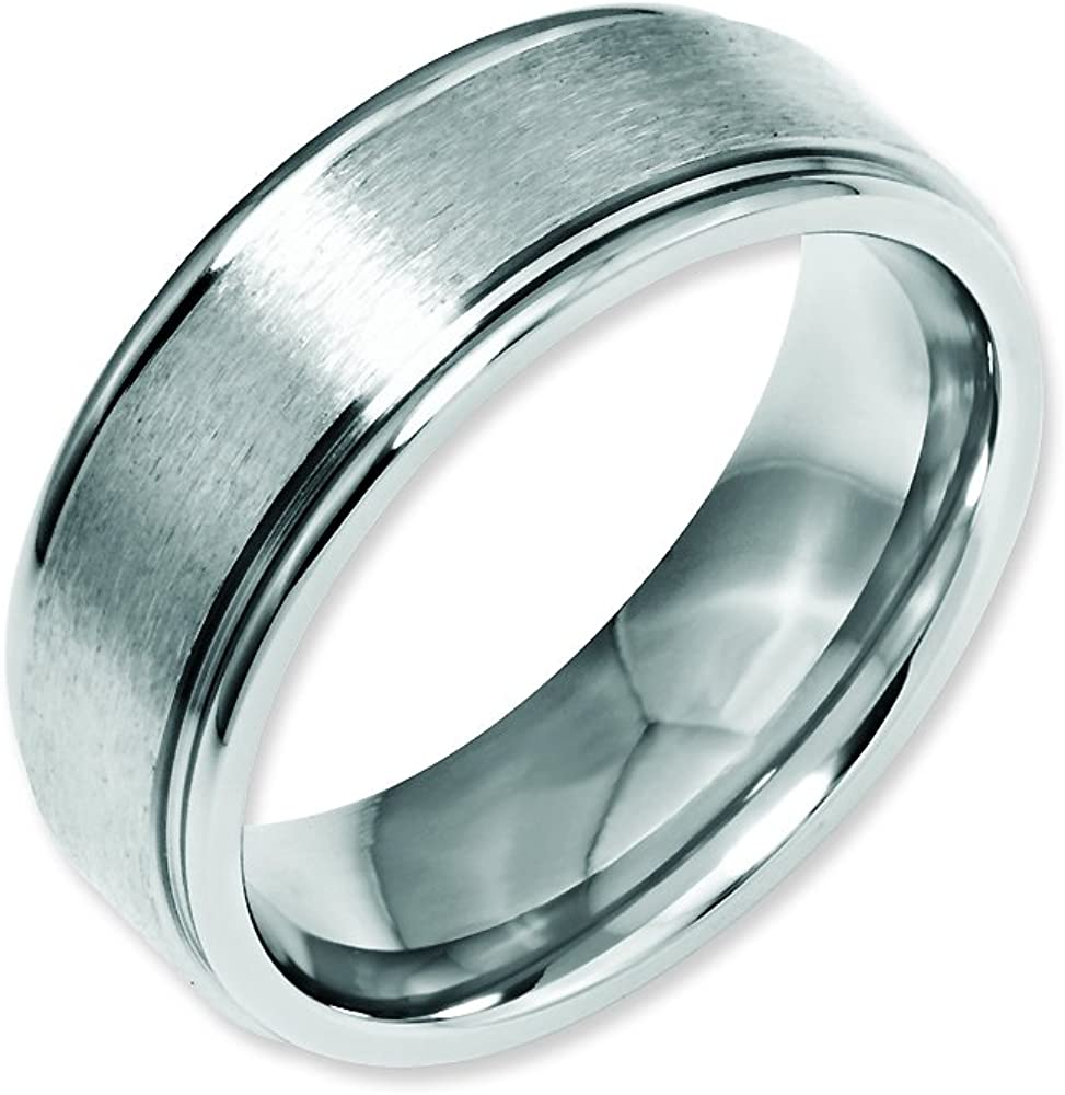 Bridal Stainless Steel Ridged Edge 8mm Brushed and Polished Band