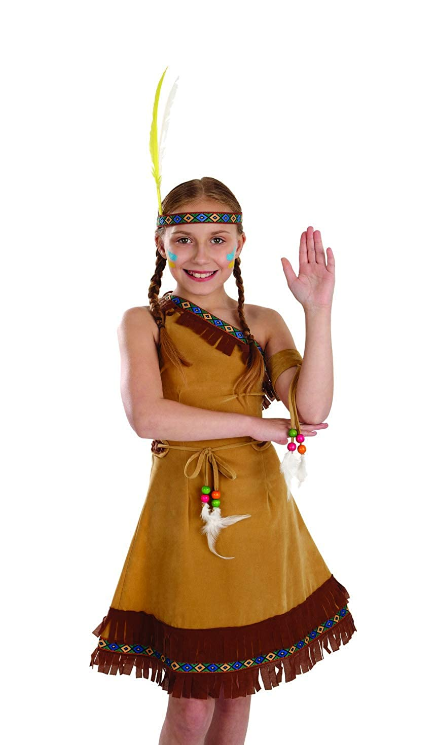 Girls Native American Costume Childrens Brown Fringed Indian Dress Outfit