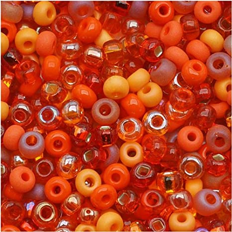 Red-Orange Trade Beads Translucent French Uncirculated 116856