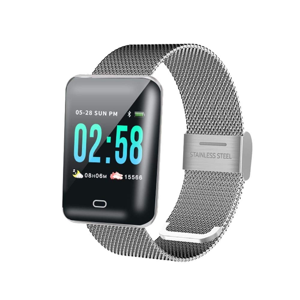 Color : Silver Fitness Tracker Bluetooth Sports Bracelet Activity Tracker Fitness Tracker Sleep Monitor for Android//iOS