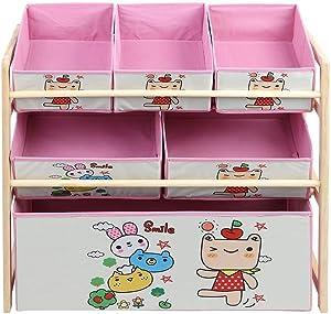 juguetera de madera de color rosada