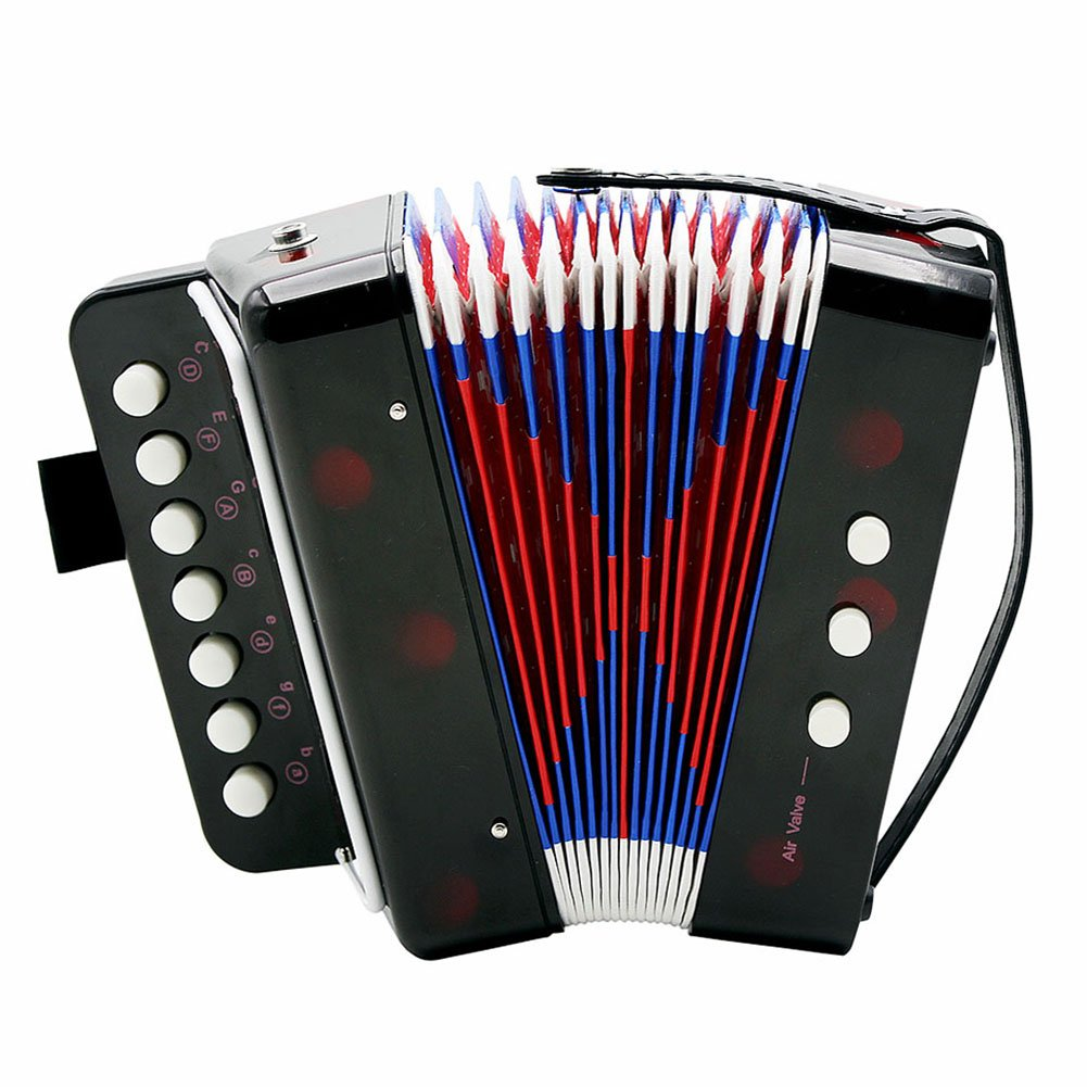 Vbestlife Kids Children 7-Key 2 Bass Accordion Mini Small Accordion Educational Musical Instrument Rhythm Toy (Black)