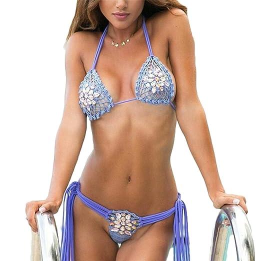 75584d41f2 Amazon.com  jumpjisper Sexy Sequin Bikini Swimsuit for Women String Bikini  Set Bohemian Crochet Swimwear  Clothing