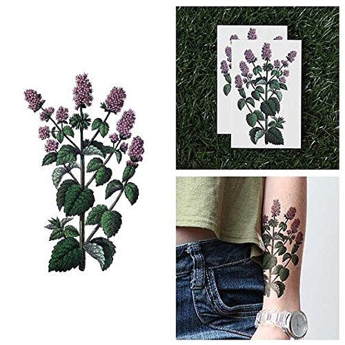 Temporary Tattoo Purple Package (Tattify Purple Mint Flowers Temporary Tattoo - Minty Fresh (Set of 2) - Other Styles Available and Fashionable Temporary Tattoos - Tattoos that are Long Lasting and Waterproof)