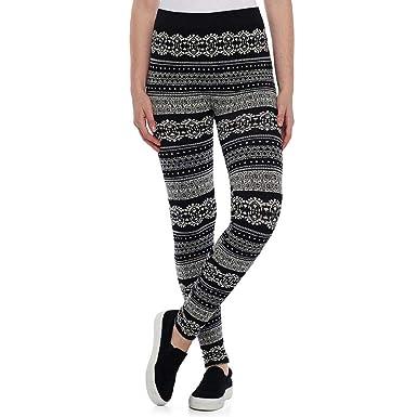 e935c4728e832 Pink Republic Junior's Tribal Pattern Cozy Fleece Lined Leggings,  Black/Ivory (Smalll)