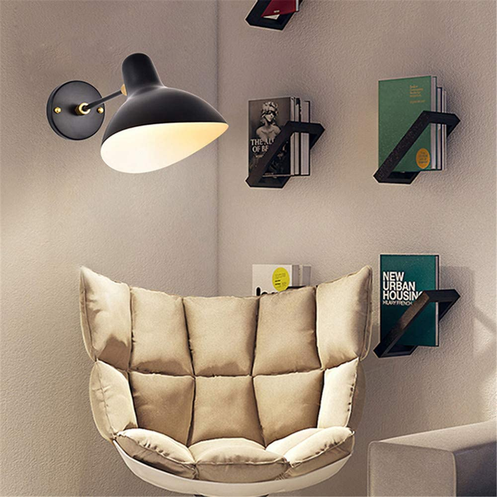 BAYCHEER Minimalist Duckbill Wall Lamp Wall Sconces Lighting with Adjustable Light Holder Modern Single Bulb Wall Mount Light Macaron Lighting for Living Room Bedroom Black