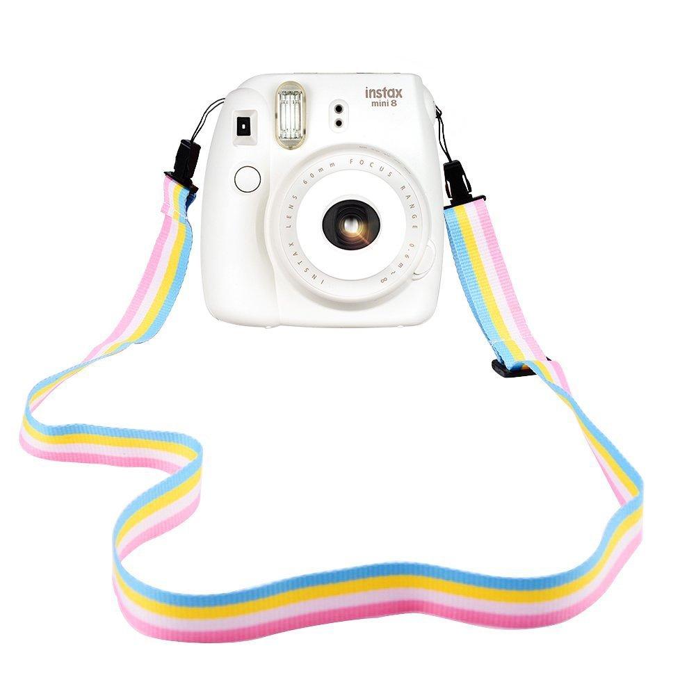 Elvam Camera Neck Shoulder Strap Belt in Rainbow Blue Yellow White Pink Color Compatible for Digital Camera/Fujifilm Instax Camera Mini 9 / Mini 8 / Mini 7s / Mini 25 / Mini 50s / Mini 90